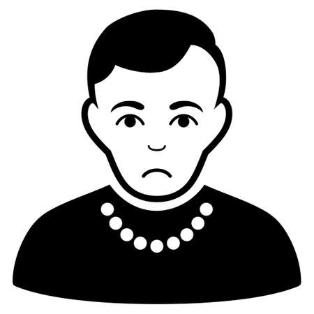 Sadly Trendy Guy vector icon. Style is flat graphic black symbol with affliction sentiment.
