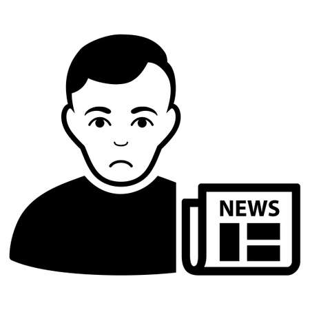 Pitiful user news vector pictograph. Style is flat graphic black symbol with dolor emotion.