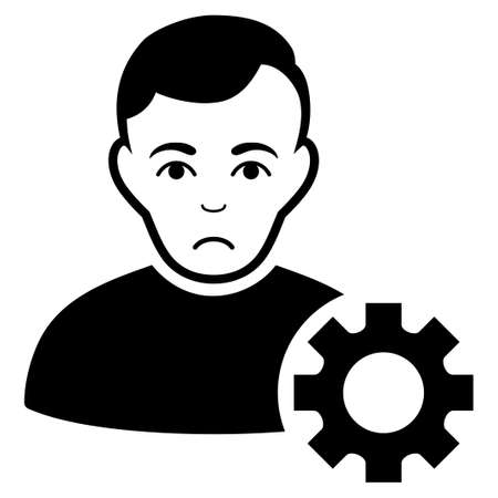 Sad User Options Gear vector pictograph. Style is flat graphic black symbol with sad sentiment.