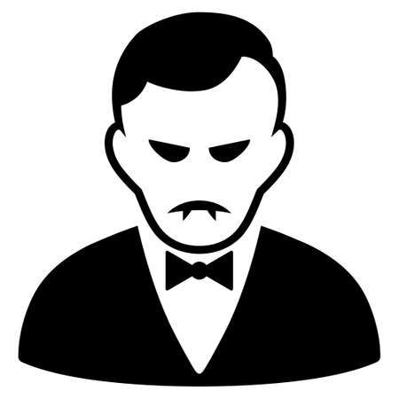 Unhappy Vampire vector pictograph. Style is flat graphic black symbol with pitiful mood.