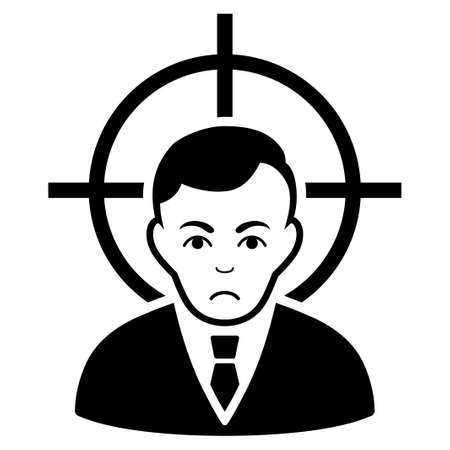 Sadly Victim Businessman vector pictogram. Style is flat graphic black symbol with unhappy emotions.
