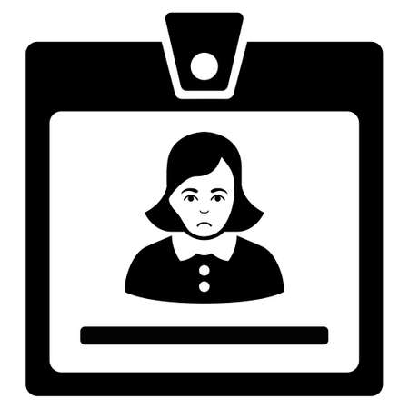 Unhappy Woman Badge vector pictogram. Style is flat graphic black symbol with desperate feeling.