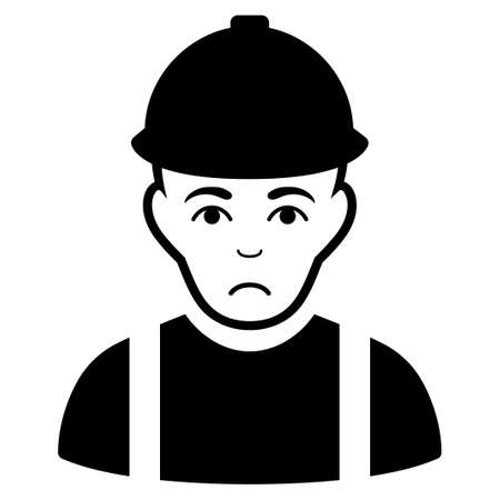 Sad Worker vector icon. Style is flat graphic black symbol with sadly mood.