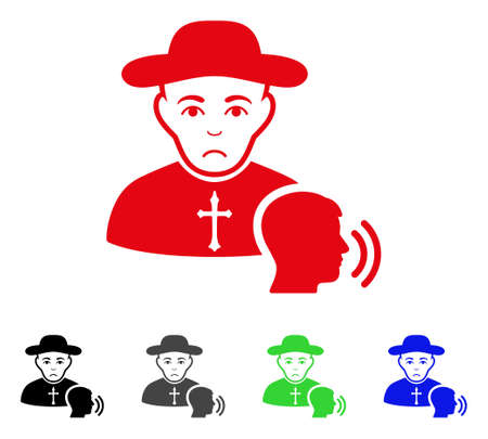 Pitiful Believer Confession vector icon. Vector illustration style is a flat iconic believer confession symbol with grey, black, blue, red, green color versions. Face has dolour sentiment.