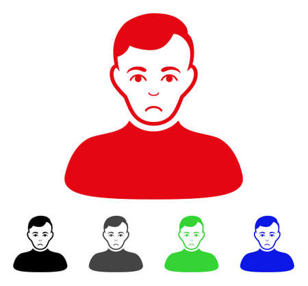 Sadly Boy vector icon. Vector illustration style is a flat iconic boy symbol with grey, black, blue, red, green color variants. Face has dolor expression. Illustration