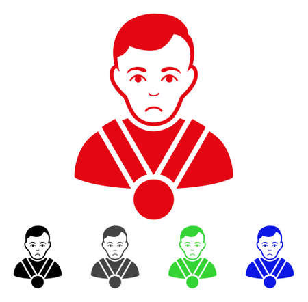Sadly Champion vector pictograph. Vector illustration style is a flat iconic champion symbol with gray, black, blue, red, green color variants. Face has unhappy feeling.