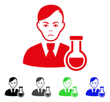 Sadly Chemist vector pictograph. Vector illustration style is a flat iconic chemist symbol with grey, black, blue, red, green color variants. Face has mourning sentiment.