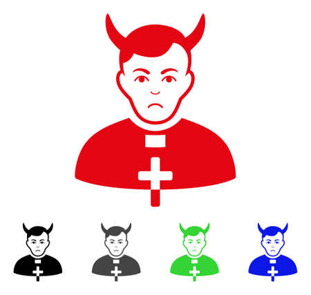 Sadly Devil Priest vector pictogram. Vector illustration style is a flat iconic devil priest symbol with gray, black, blue, red, green color variants. Face has depressed feeling. Illustration