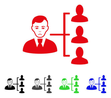 Sadly Distribution Manager vector pictogram. Vector illustration style is a flat iconic distribution manager symbol with gray, black, blue, red, green color variants. Face has stress emotions. Illustration