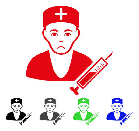 Dolor Doctor vector pictograph. Vector illustration style is a flat iconic doctor symbol with grey, black, blue, red, green color variants. Face has desperate mood.