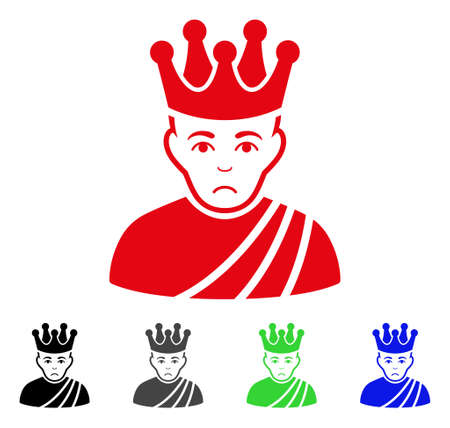 Sadly Emperor vector pictograph. Vector illustration style is a flat iconic emperor symbol with grey, black, blue, red, green color variants. Face has sadly emotion.