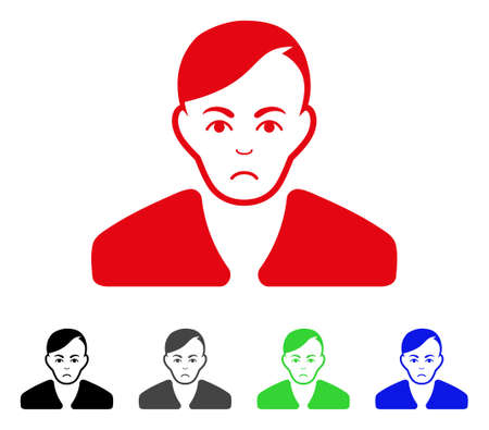 Guy vector pictograph. Vector illustration style is a flat iconic guy symbol with grey, black, blue, red, green color variants. Face has problem sentiment. Illustration