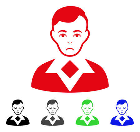 Unhappy Man vector pictogram. Vector illustration style is a flat iconic man symbol with grey, black, blue, red, green color variants. Face has unhappy expression. Illustration