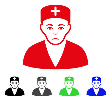 Sadly Medic vector pictograph. Vector illustration style is a flat iconic medic symbol with gray, black, blue, red, green color versions. Face has sadly emotions.