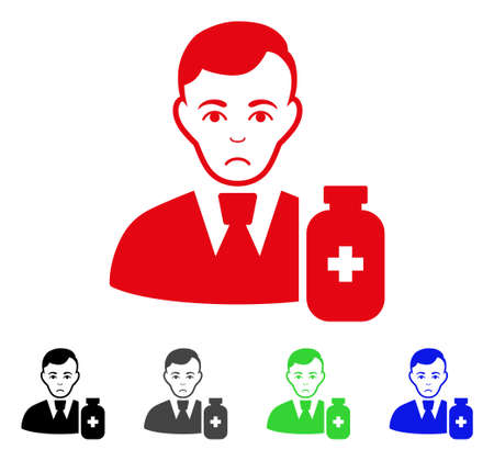 Pitiful Medical Pharmacist vector pictograph. Vector illustration style is a flat iconic medical pharmacist symbol with gray, black, blue, red, green color versions. Face has sadness expression. Illustration