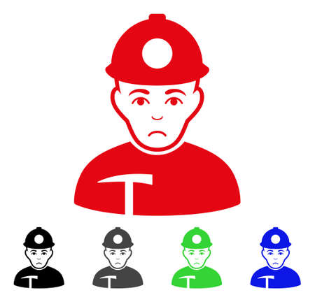 Pitiful Miner vector pictogram. Vector illustration style is a flat iconic miner symbol with gray, black, blue, red, green color variants. Face has desperate sentiment.