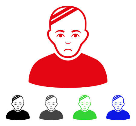 Unhappy Patient vector pictograph. Vector illustration style is a flat iconic patient symbol with gray, black, blue, red, green color versions. Face has desperate mood.