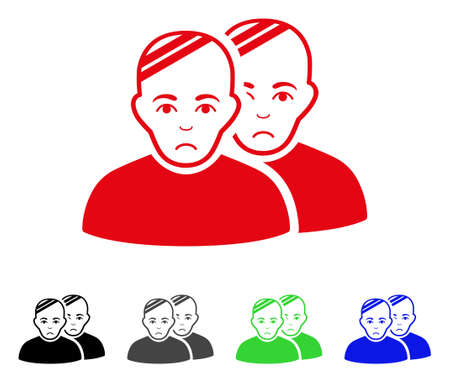 Sad Patients vector pictograph. Vector illustration style is a flat iconic patients symbol with gray, black, blue, red, green color variants. Face has affliction emotions. Illustration