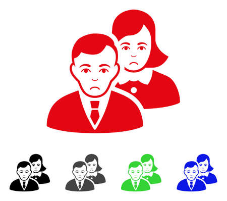 Sad People vector icon. Vector illustration style is a flat iconic people symbol with grey, black, blue, red, green color versions. Face has sadly expression. Illustration
