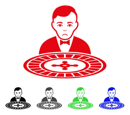 Sadly Roulette Dealer vector pictogram. Vector illustration style is a flat iconic roulette dealer symbol with gray, black, blue, red, green color versions. Face has depression feeling. Illustration