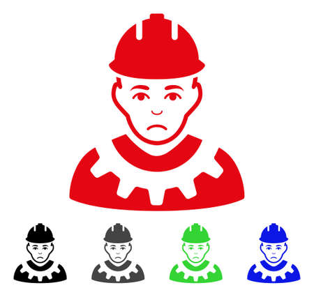Sadly Serviceman vector pictograph. Vector illustration style is a flat iconic serviceman symbol with grey, black, blue, red, green color variants. Face has affliction feeling.