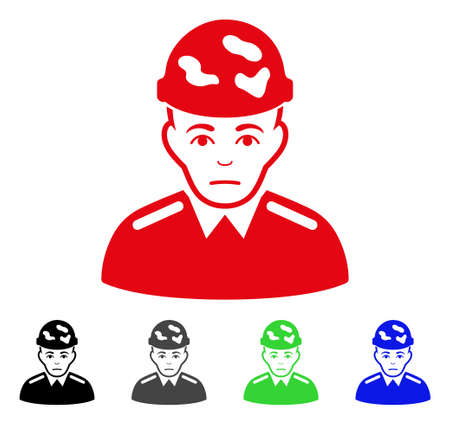 Sad Soldier vector pictogram. Vector illustration style is a flat iconic soldier symbol with gray, black, blue, red, green color variants. Face has unhappy sentiment. Illustration