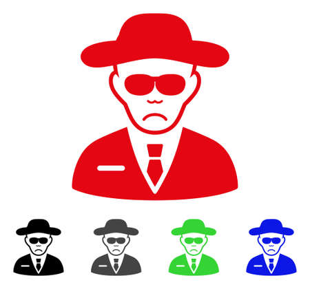 Dolor Spy vector pictograph. Vector illustration style is a flat iconic spy symbol with grey, black, blue, red, green color variants. Face has sad sentiment. Illustration