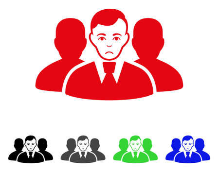 Sadly User Group vector icon. Vector illustration style is a flat iconic user group symbol with gray, black, blue, red, green color variants. Face has pitiful feeling. Illustration