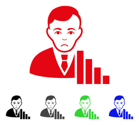 Sad Stock Trader vector pictogram. Vector illustration style is a flat iconic stock trader symbol with grey, black, blue, red, green color variants. Face has sorrow mood.