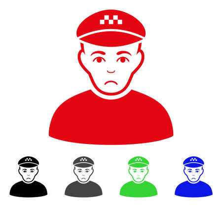 Unhappy Taxi Driver vector icon. Vector illustration style is a flat iconic taxi driver symbol with grey, black, blue, red, green color versions. Face has sad emotions. Illustration