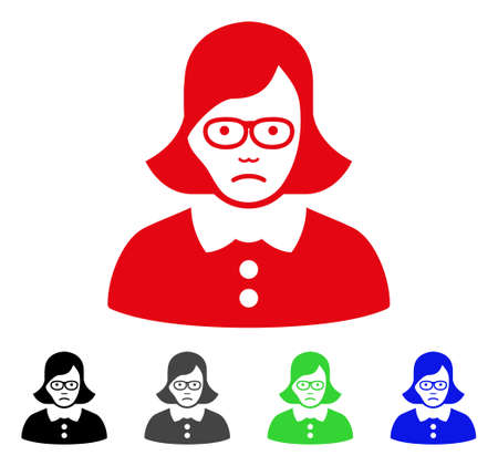 Sadly Teacher Lady vector icon. Vector illustration style is a flat iconic teacher lady symbol with gray, black, blue, red, green color variants. Face has grief expression. Illustration