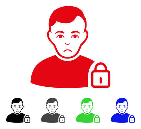 Sadly User Lock vector pictogram. Vector illustration style is a flat iconic user lock symbol with gray, black, blue, red, green color versions. Face has unhappy expression.