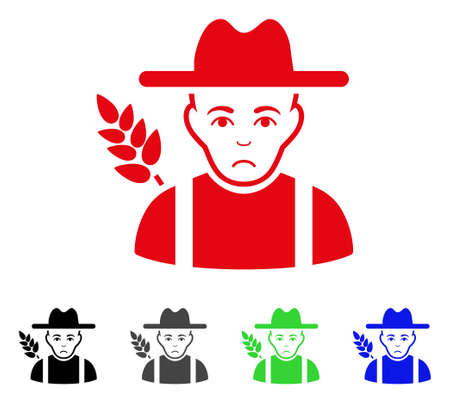 Sadly Wheat Farmer vector pictogram. Vector illustration style is a flat iconic wheat farmer symbol with grey, black, blue, red, green color versions. Face has sadly expression.