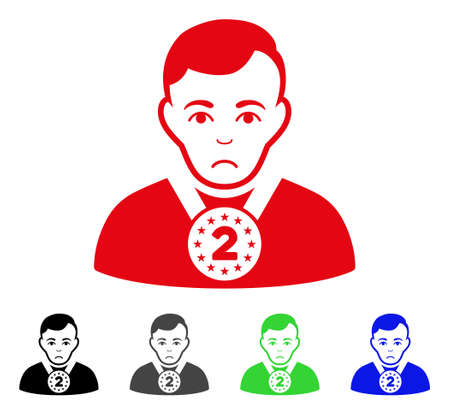 Unhappy 2nd Prizer Sportsman vector pictograph. Vector illustration style is a flat iconic 2nd prizer sportsman symbol with grey, black, blue, red, green color versions. Face has problem feeling. Illustration