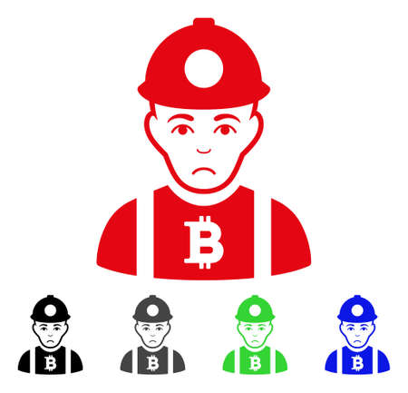 Sadly Bitcoin Miner vector icon. Vector illustration style is a flat iconic bitcoin miner symbol with gray, black, blue, red, green color versions. Face has sadness sentiment.