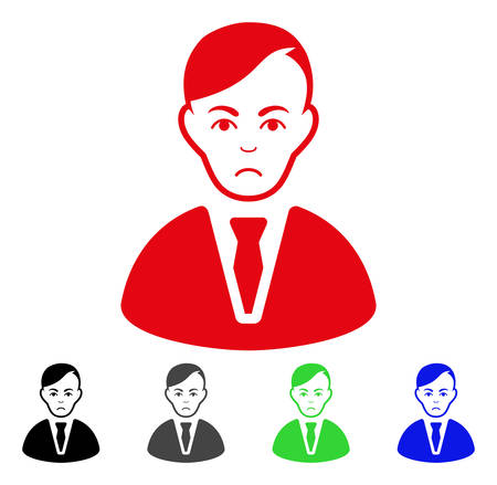 Dolor Businessman vector pictogram. Vector illustration style is a flat iconic businessman symbol with gray, black, blue, red, green color variants. Face has dolour feeling.