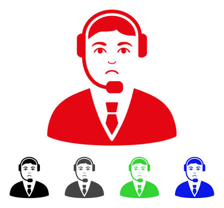 Unhappy Call Center Operator vector pictograph. Vector illustration style is a flat iconic call center operator symbol with grey, black, blue, red, green color versions. Face has dolour feeling.
