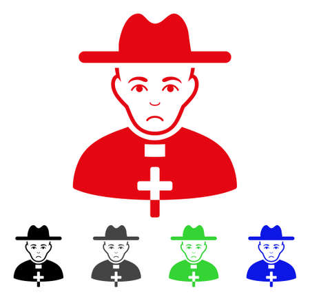 Pitiful Catholic Priest vector pictograph. Vector illustration style is a flat iconic catholic priest symbol with gray, black, blue, red, green color versions. Face has sadness emotion. Illustration