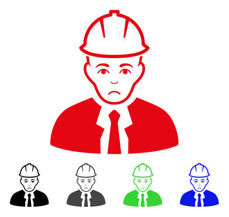 Unhappy Engineer vector icon. Vector illustration style is a flat iconic engineer symbol with grey, black, blue, red, green color variants. Face has pitiful feeling.