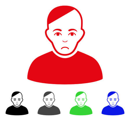 Sadly Patient vector pictograph. Vector illustration style is a flat iconic patient symbol with grey, black, blue, red, green color versions. Face has affliction expression. Illustration
