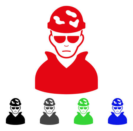 Pitiful Soldier vector icon. Vector illustration style is a flat iconic soldier symbol with grey, black, blue, red, green color variants. Face has problem emotions. Illustration