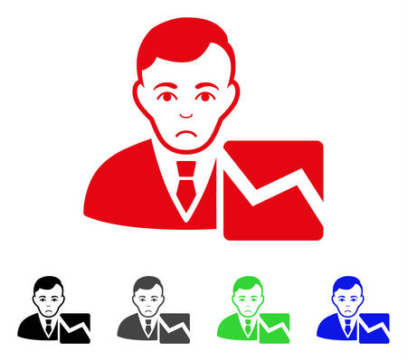 Unhappy Stock Trader vector icon. Vector illustration style is a flat iconic stock trader symbol with gray, black, blue, red, green color variants. Face has depression mood.