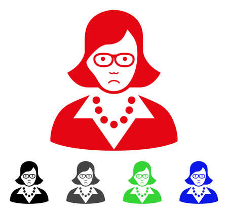 Unhappy Teacher Lady vector pictogram. Vector illustration style is a flat iconic teacher lady symbol with gray, black, blue, red, green color versions. Face has sorrow expression.