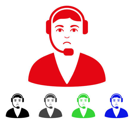 Sad Call Center Operator vector icon. Vector illustration style is a flat iconic call center operator symbol with gray, black, blue, red, green color versions. Face has sadly expression. Illustration