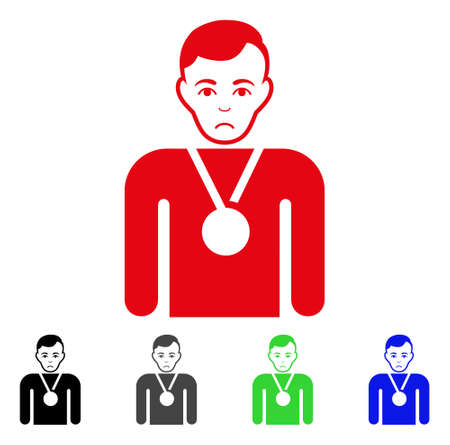 Sad Champion vector pictogram. Vector illustration style is a flat iconic champion symbol with gray, black, blue, red, green color versions. Face has dolor emotions.