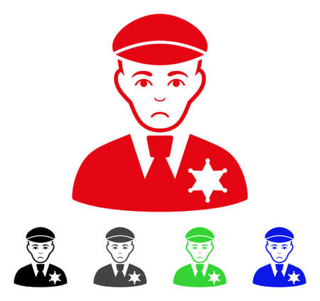 Sad Sheriff vector icon. Vector illustration style is a flat iconic sheriff symbol with grey, black, blue, red, green color variants. Face has problem emotions. Ilustração