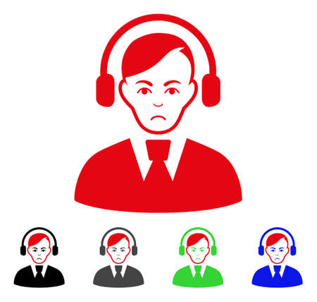 Sad Call Center Operator vector pictogram. Vector illustration style is a flat iconic call center operator symbol with grey, black, blue, red, green color versions. Face has sadly sentiment.