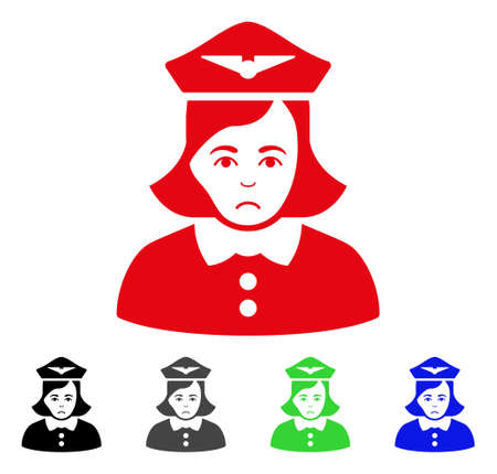 Sad airline stewardess pictograph in different colors.