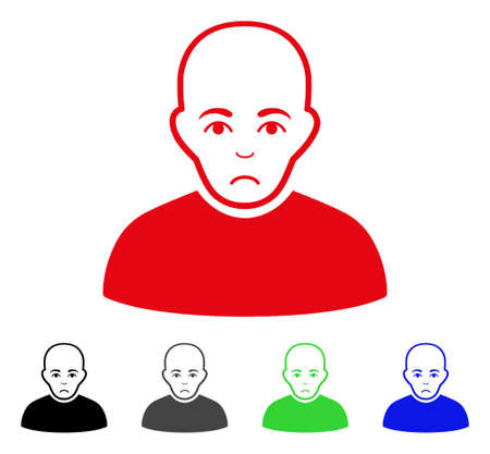 Pitiful Bald Man vector icon. Vector illustration style is a flat iconic bald man symbol with gray, black, blue, red, green color variants. Face has pitiful sentiment.
