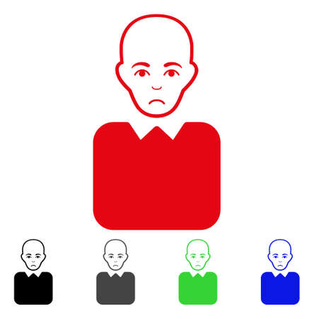 Unhappy Bald Bureaucrat vector pictograph. Vector illustration style is a flat iconic bald bureaucrat symbol with gray, black, blue, red, green color variants. Face has unhappy sentiment. Illustration